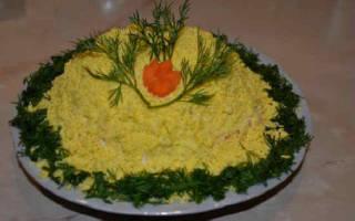 Салат мимоза с крабовыми палочками и рыбой