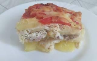 Картофельная запеканка с рыбой консервы