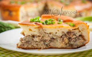 Пирог с рыбой на кефире в духовке